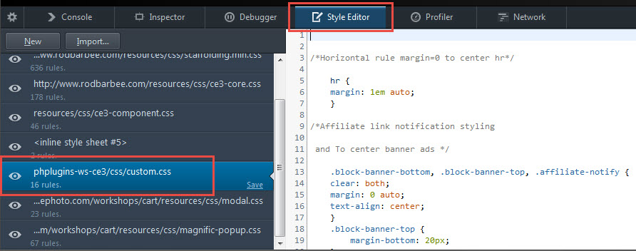 accessing your custom.css file from the Inspector
