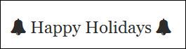 Happy Holidays with black bells, lightroom screen shot