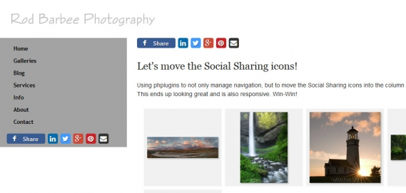 social sharing icons added to navigation container