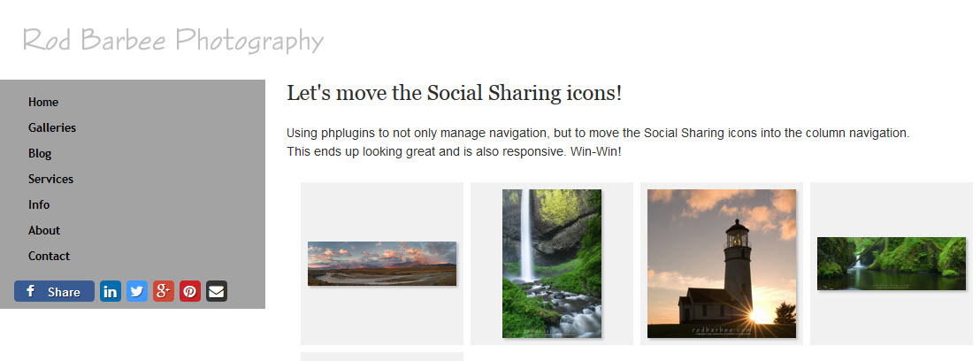 Social media sharing icons in nav container only