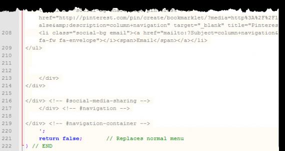screen shot of social sharing code