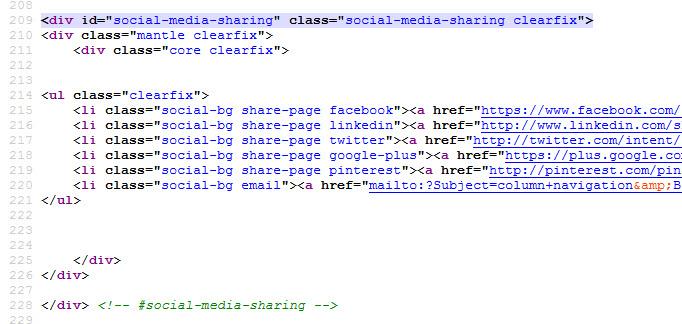 the Social Sharing code