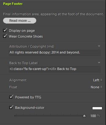 TTG Footer background-color control