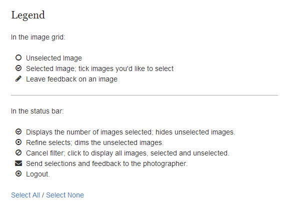 Client Response Gallery legend with Select options at bottom