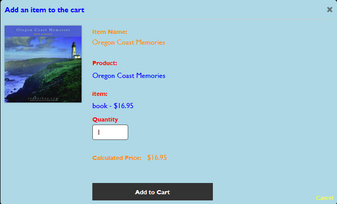 A very colorful Add to Cart dialog box.