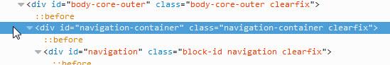 html for navigation bar div