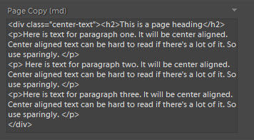 Using classes with HTML in the Page Copy (md) field.