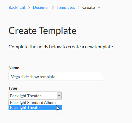 Create a new template using Backlight Theater